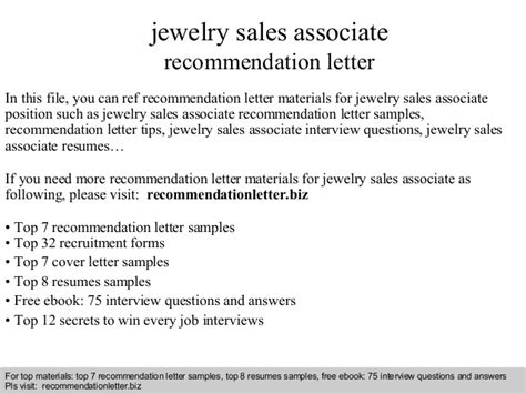 Reference Letter Aas jewelry sales associate recommendation letter