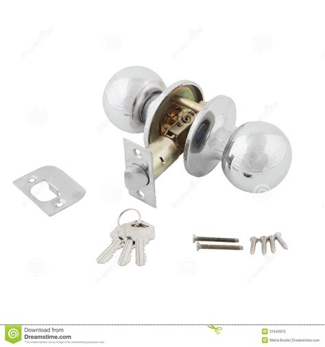 Door Knob Assembly by Door Knob Assembly On White Background Royalty Free Stock