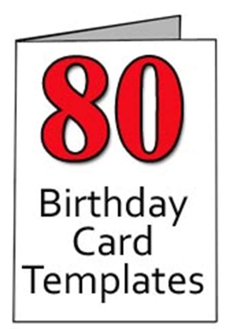Happy 80th Birthday Card Template by 80 Birthday Clipart Clipart Suggest