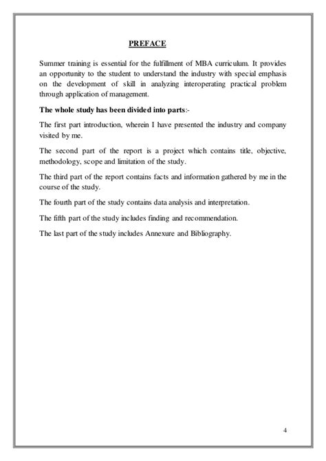 Preface For Project Report Of Mba by Mba Summer Project Report