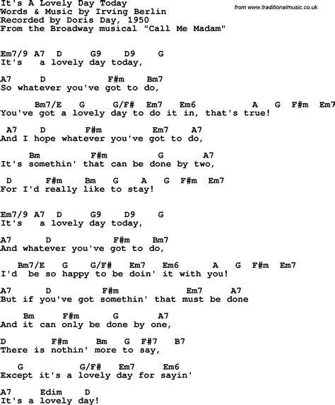 day lyrics song lyrics with guitar chords for it s a lovely day today