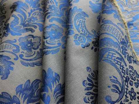 Blue Damask Upholstery Fabric by Bty Vintage Brocade Upholstery Drapery Fabric Gorgeous