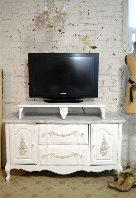 painted cottage chic shabby white french media tv stand