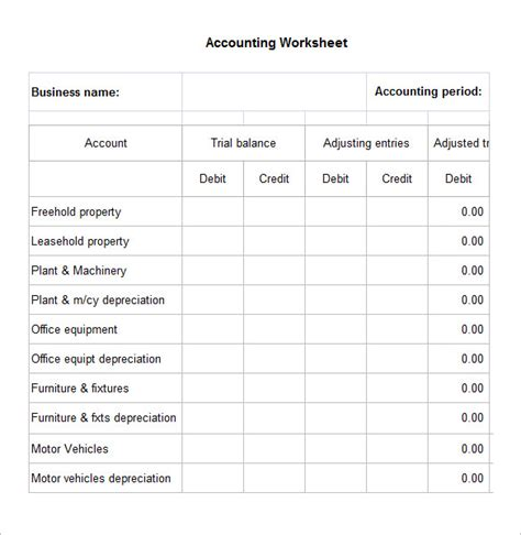 worksheet template 4 accounting worksheet templates free excel documents