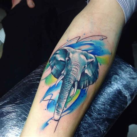 elephant tattoo under arm watercolor elephant tattoo on arm animals tattoo