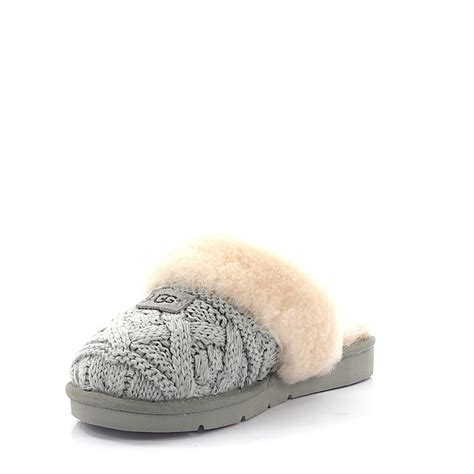 ugg house slippers sale ugg house slippers cozy cable knitted grey fur in