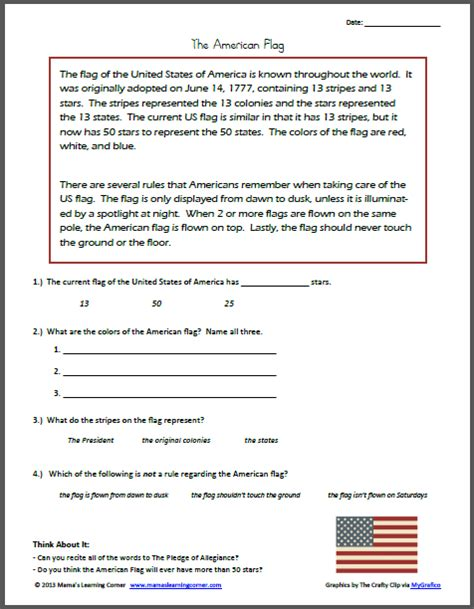 reading comprehension the american flag ultimate