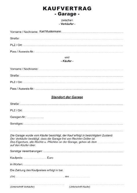 garten kaufvertrag kaufvertrag garage formulare gratis