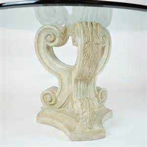 glass top dining table cast stone volute base decor nyc store