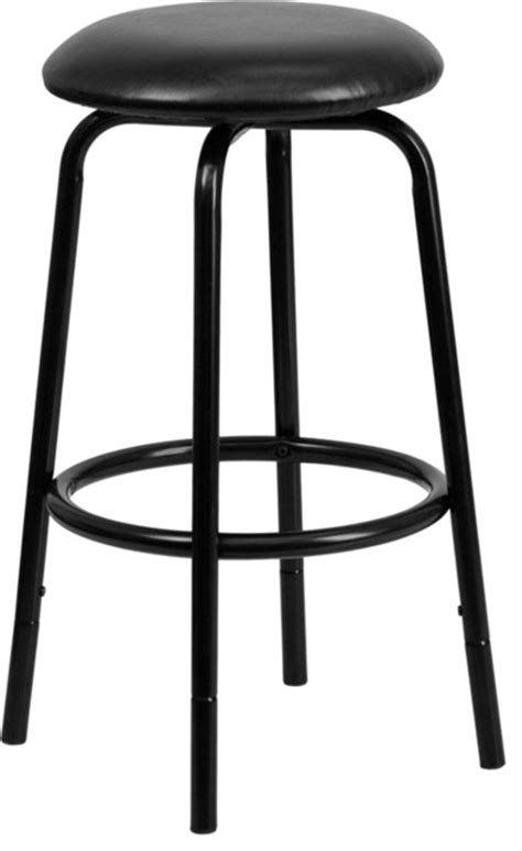 black leather bar stools counter height backless black dual height counter or bar stool with black