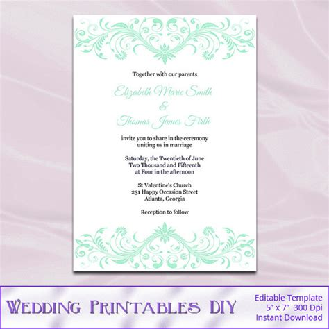 Mint Wedding Invitation Template Diy Printable Light Green Mint Green Wedding Invitation Template