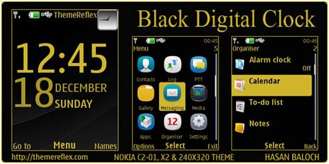 themes clock islamic black digital clock theme for nokia x2 c2 01 240 215 320