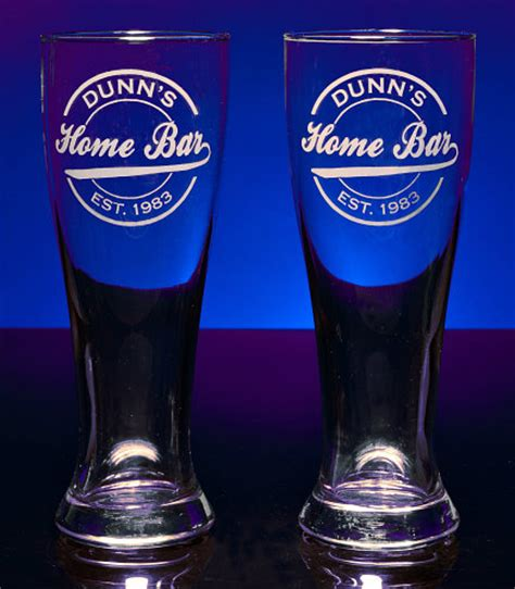 personalized barware glasses personalized home bar pilsner glasses
