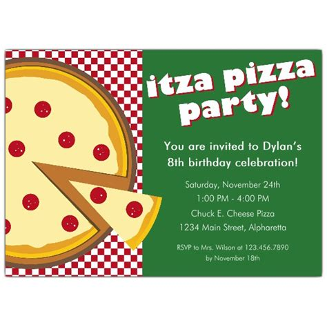Pizza Birthday Card Template by Itza Pizza Invitations Paperstyle