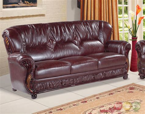 Burgundy Loveseat by Mina Burgundy Traditional Italian Leather Sofa Loveseat