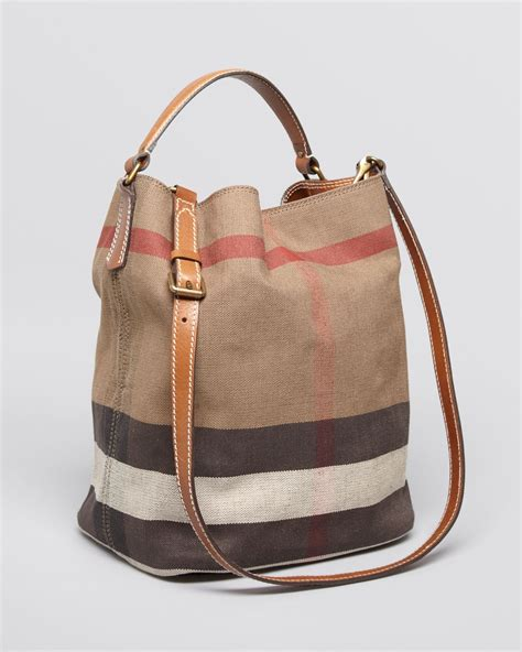 Burberry Check Canvas Hobo by Burberry Canvas Check Medium Ashby Hobo In Brown Lyst