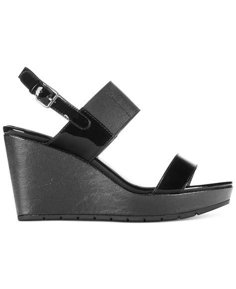 bandolino annika platform wedge sandals in black lyst
