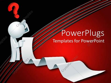 powerpoint template 3d white figure thinking holding long