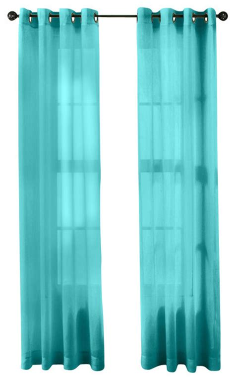 Aqua Sheer Curtains Hlc Me 2 Sheer Window Curtain Grommet Panels Aqua Blue Teal Traditional Curtains