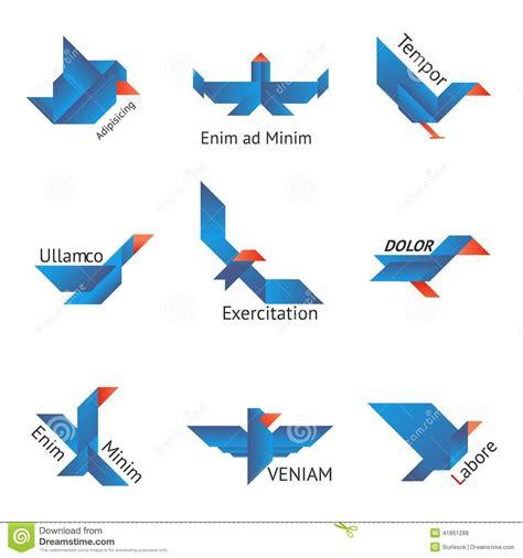 Dessin Oiseau Origami by Ensemble D Oiseaux D Origami Illustration De Vecteur