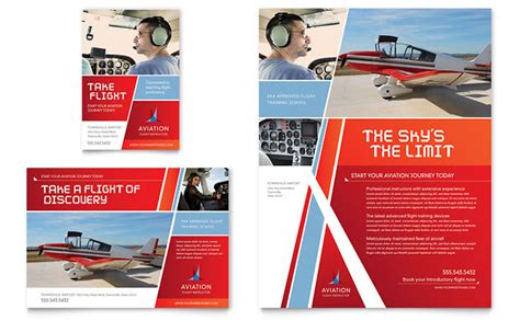 aviation flight instructor flyer ad template design