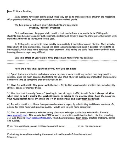 Parent Letter From Math do you parents that come to you so frustrated with their child s math homework or