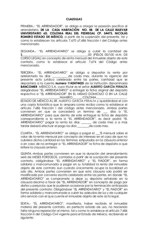 contrato de arrendamiento mexico modelo de contrato de arrendamiento de bien inmueble