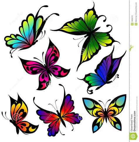 set of colour butterflies of tattoos stock image image