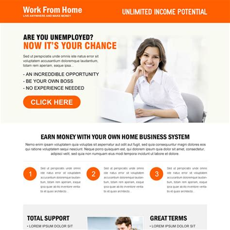 design home earn cash work from home landing page design template exle to
