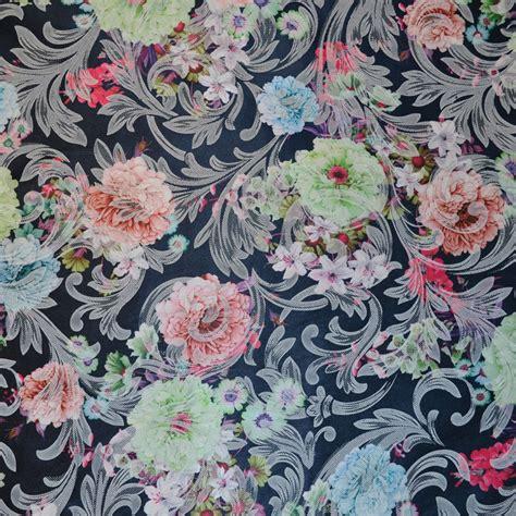 Navy Print navy floral print jacquard fabric jacquard cotton