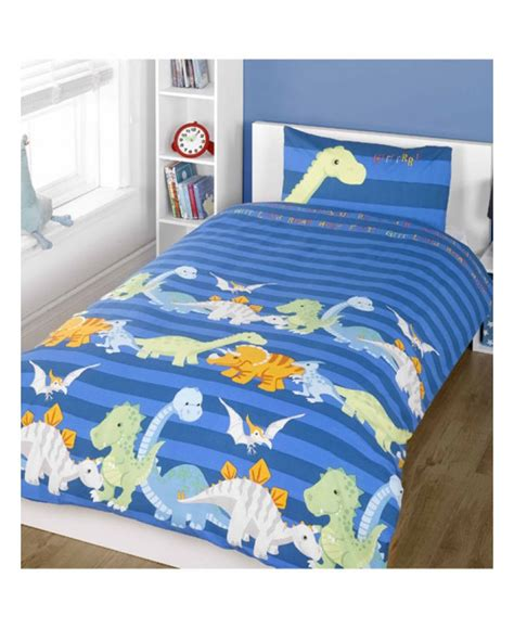 Childrens Cot Bedding Sets Dinosaurs Single Duvet Cover And Pillowcase Set Blue