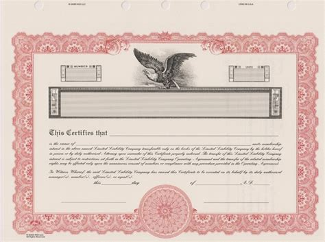 corporate stock certificate template free llc stock certificates