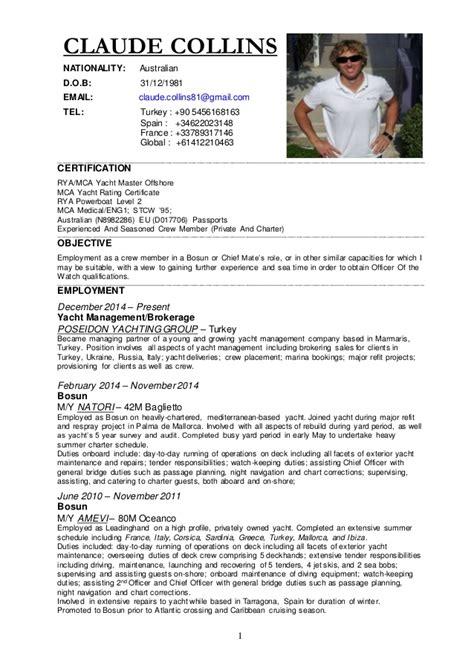 Reference Letter Yacht Stewardess cv 2015