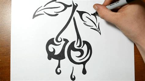 how to tattoo how to draw cherries tribal design style