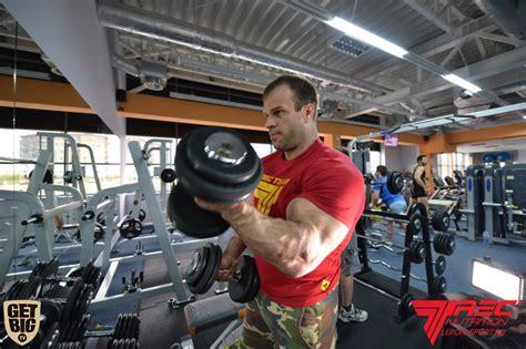 Bench Dumbbell Exercises Photos Denis Cyplenkov One Arm Ez Curl Bar