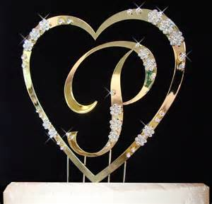 gold monogram cake topper gold single with monogram cake topper set
