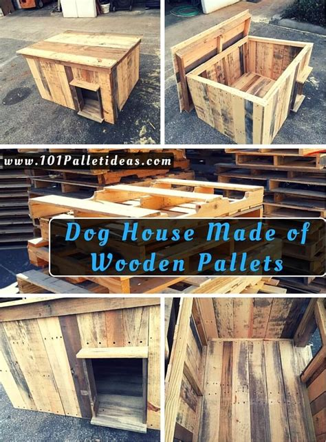 dogs made of house made of wooden pallets