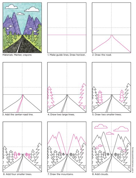 V Drawing Tutorial by How To Draw Perspective Landscape 183 Projects For