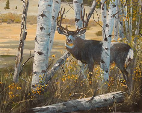 Hunting Cabin Plans by Boulder Mule Deer Painting By Scott Thompson