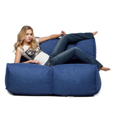 bean bags couch 2 seater blue sofa designer bean bag couch blue fabric