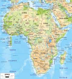 large detailed physical map of africa with roads and