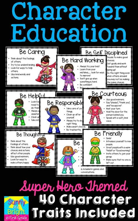 character education themes elementary superhero themed character education posters character
