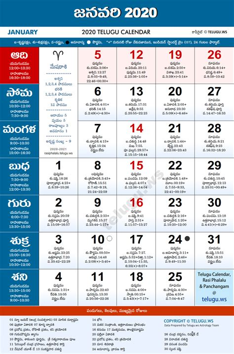 telugu calendar  january  print  festivals holidays list