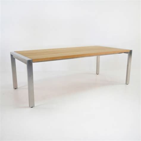 Ss Dining Table Designs Stainless Steel And Teak Plank Dining Table Design