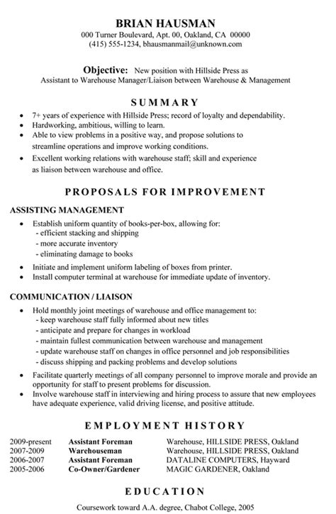 Warehouse Supervisor Resume by Functional Resume Sle Assistant To Warehouse Manager