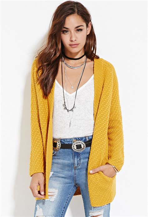 mustard colored cardigan lyst forever 21 longline open front cardigan in yellow