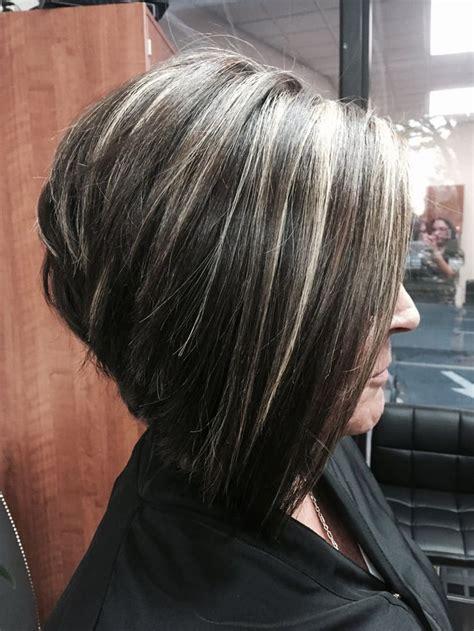 chunky platinum highlights yelp dark brown hairs gray