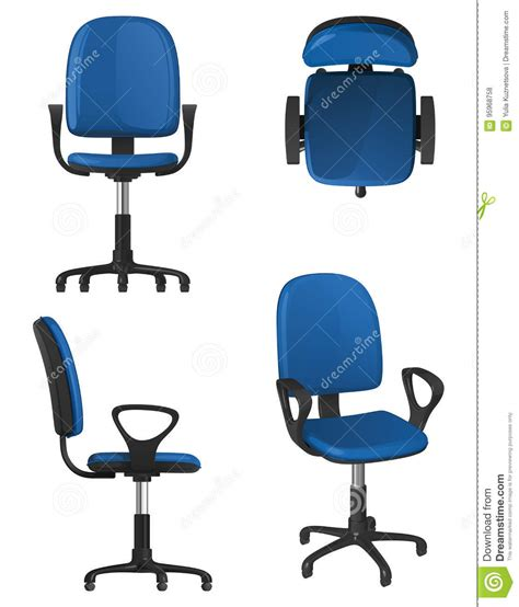 stuhl vorne a twisting office chair on wheels with a blue upholstery