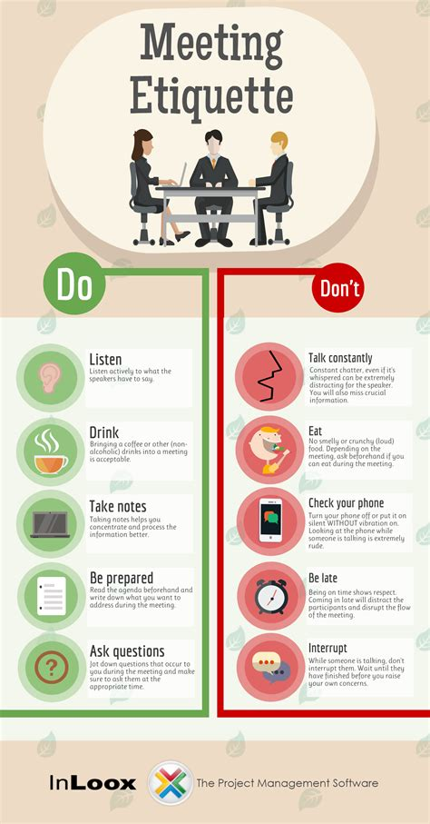 conference room etiquette infographic meeting etiquette to live by inloox