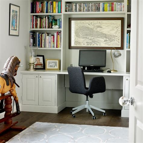white home office with fitted shelves home office